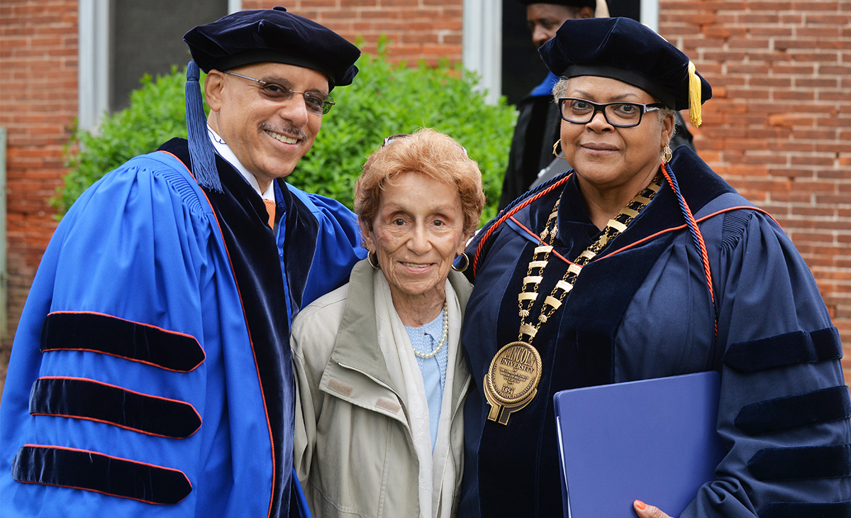 Senator Hughes stands with his mother, Ann, and Lincoln University President Barbara A. Allen after receiving an honorary doctorate from Lincoln University and was the commencement speaker this past May.