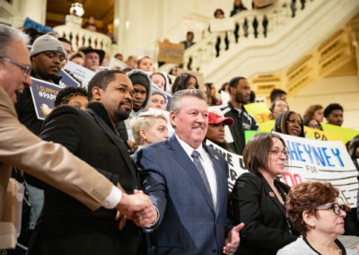 March 27, 2019 – Hundreds of Pennsylvania State System of Higher Education Students rallied with Senator Vincent Hughes and other officials to make collective call for free college through the Pennsylvania Promise initiative.