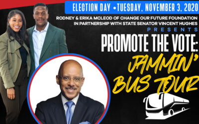 Senator Hughes partners with Rodney & Erika McLeod, Change Our Future Foundation for My Voice My Vote Jammin' Bus Tour on Election Day